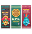 maya civilization cartoon banners vector image vector image