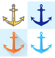 nautical anchor icon set in flat and line styles vector image vector image