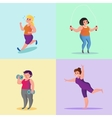 Obese young women running Workout yoga with vector image