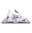 Open book Indians sit at wigwam on pages of open vector image vector image
