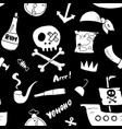 pirate doodles seamless pattern cute pirate items vector image vector image