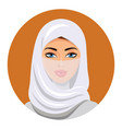 portrait of muslim woman using a white veil vector image vector image