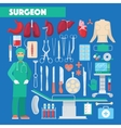 Profession Surgeon Medical Tools with Anatomy vector image vector image