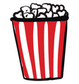 red and white straped box popcorn on a white vector image