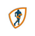 Rugby Player Running Shield Silhouette vector image vector image