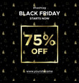 sale banner black friday up to 75 percent off vector image vector image