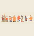 set different couples preparing for christmas vector image vector image