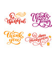 set of calligraphy phrases be thankful thank you vector image vector image