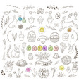 set of easter doodles vector image vector image