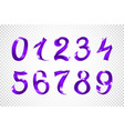Set of festive violet ribbon digits purple