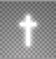 shining white cross on transparent background vector image