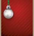 silver christmas holiday ornament on a red vector image vector image