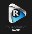 silver letter r logo in silver-blue triangle vector image