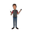 standing young man wearing casual clothes cartoon vector image