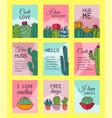 succulents invitation cacti green plants vector image vector image