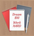 text dream big work hard vector image vector image