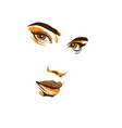 the girls face is close-up eyes lips nose vector image vector image