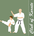 The man and the boy are engaged in karate vector image vector image