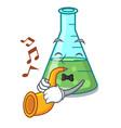 with trumpet science beaker mascot cartoon vector image vector image