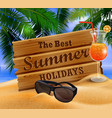 wooden board on tropical background vector image vector image