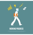 Working process banner with businessman vector image vector image