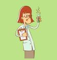 woman scientist cartoon vector image