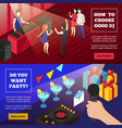 discoteque party isometric banners vector image