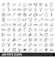 100 pets icons set outline style vector image vector image