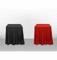 3d realistic red black silk tablecloth vector image vector image