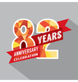 82nd Years Anniversary Celebration Design vector image vector image