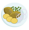 a plate with potatos beans and onions on a white vector image