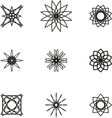 A set of nine black spiral logo on white vector image vector image