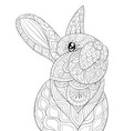 adult coloring bookpage a cute rabbit image vector image vector image