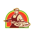 Baker Holding Peel With Pizza Pie Retro vector image vector image