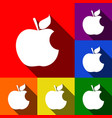 bite apple sign set of icons with flat vector image vector image