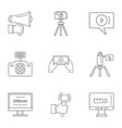 blockbuster icons set outline style vector image