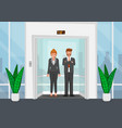 business people in a glass elevator vector image