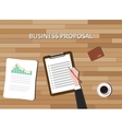 business proposal document with clipboard graph vector image vector image