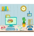 Business workplace office interior desk vector image