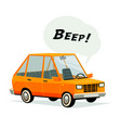 cartoon car flat style orange car on white vector image