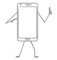 cartoon of mobile phone character pointing at vector image vector image