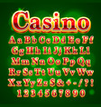 casino golden english alphabet font vector image vector image