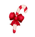 christmas candy cane with ribbon vector image vector image