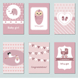 Collection of cute Baby Girl Card vector image