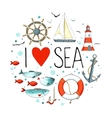 Collection of nautical elements in a circle shape vector image vector image