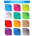 Colorful 2013 calendar vector image vector image