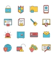 Computer security icons set line vector image vector image