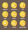 cripto currency golden logo coins vector image