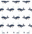dolphin seamless pattern cartoon style vector image