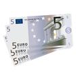 drawing of a 3x 5 Euro bills vector image vector image